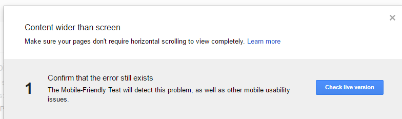 The content wider than screen error in Google Webmasters