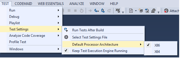 Set the correct platform for your unit tests in Visual Studio