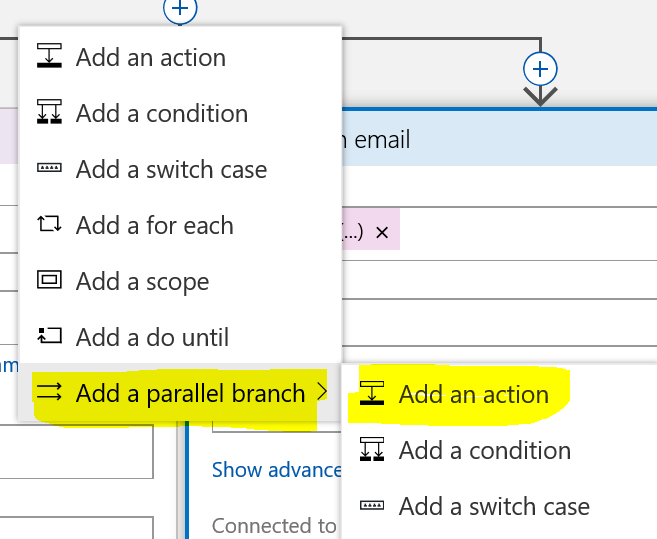 add a parallel branch condition