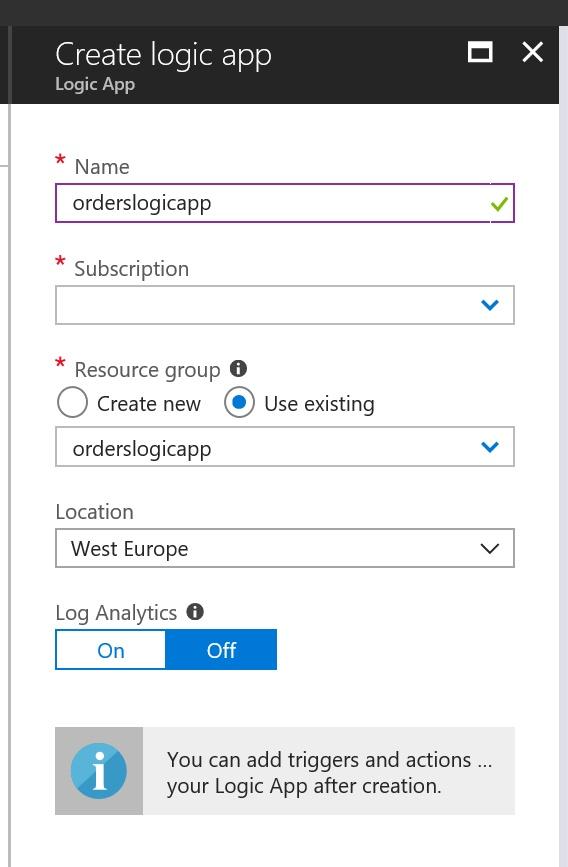Create a new Logic App in the Azure Portal