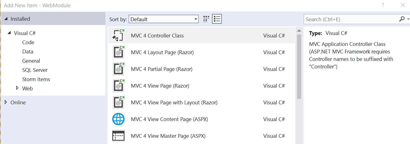 Add new item dialog in visual studio
