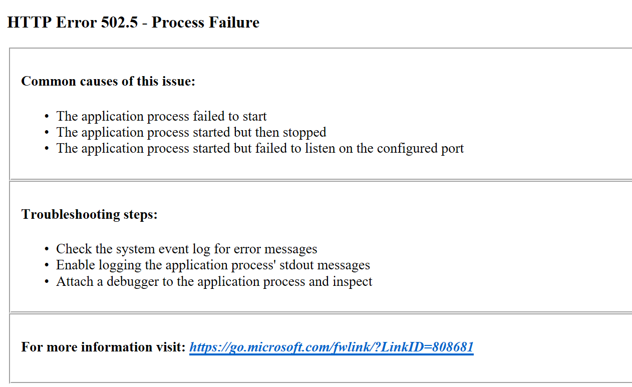 The 502.05 Process Failure error