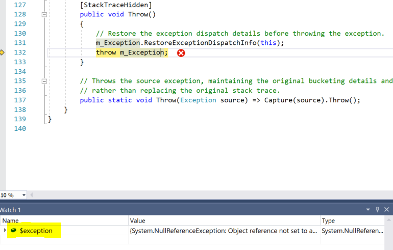 The $exception variable in Watch List of Visual Studio