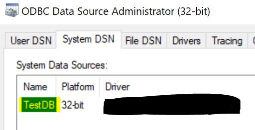 The ODBC Data Source Administrator dialog