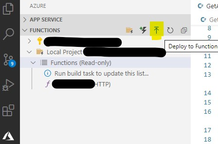 create a new functions project in visual studio code