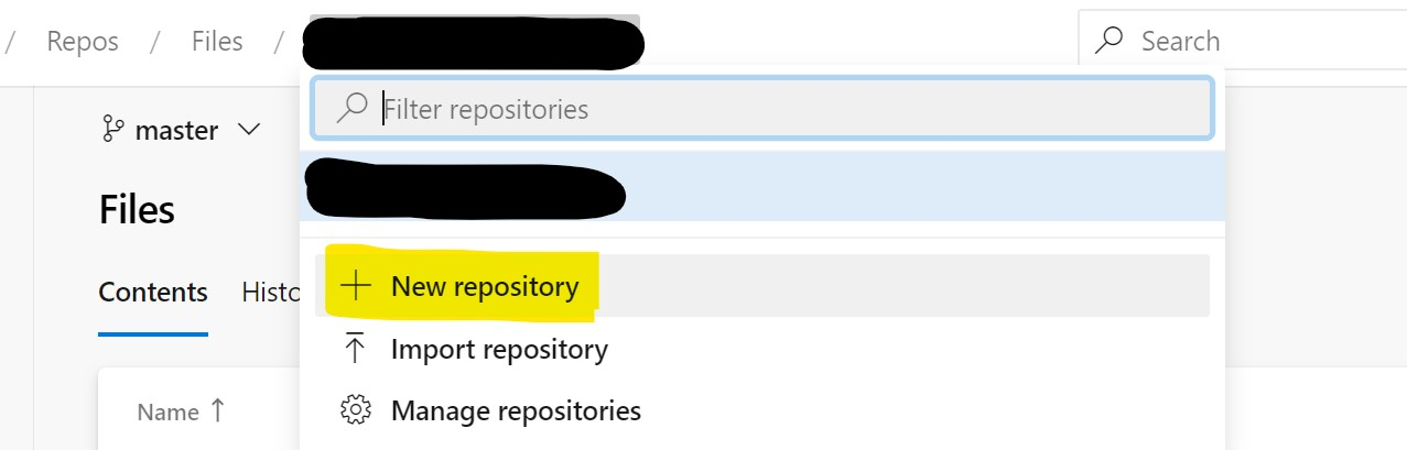 A new repository in Azure DevOps