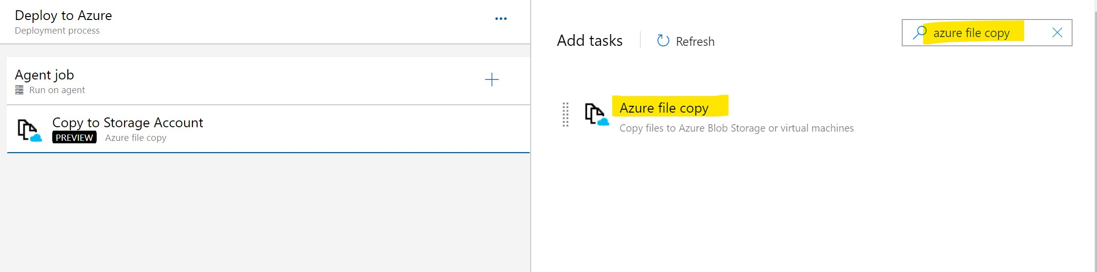 Create an Azure file copy task
