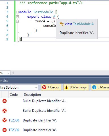 The duplicate identifier error in TypeScript
