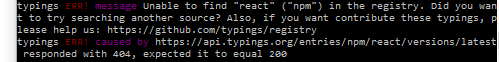 The unable to find react error when using typings