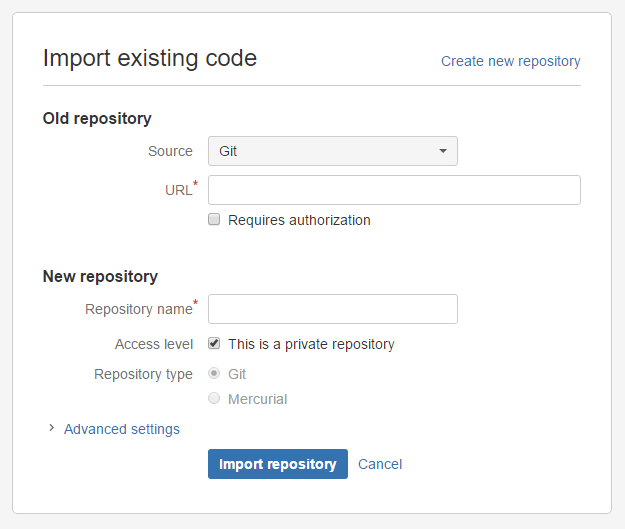 The import repository screen in Bitbucket