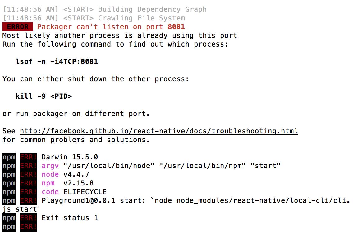React Native - How to terminate an already running node server
