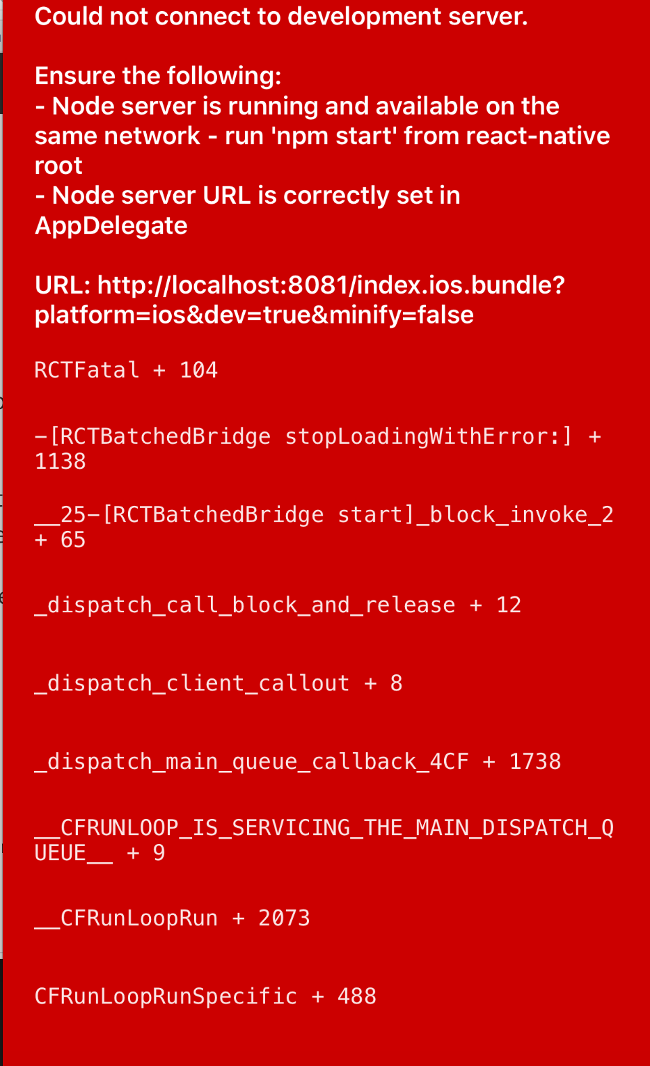 React Native - Could not connect to development server