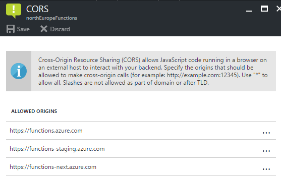Applying CORS rules for an Azure Function