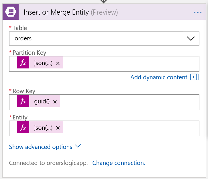 Insert or merge entity in storage table step