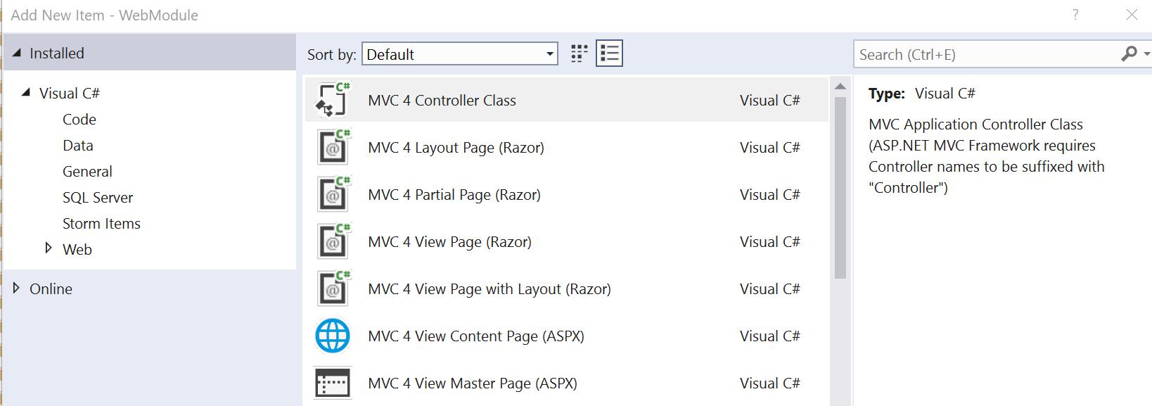 Add new item dialog in visual studio