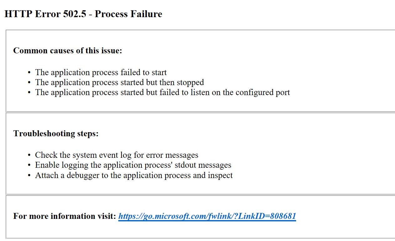 The 502.05 Process Failure error