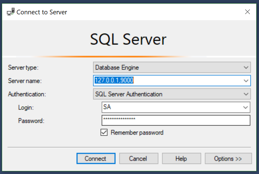 Connect to an SQL Database running on a Docker Container