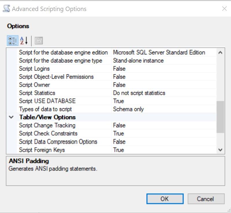 Set scripting options page