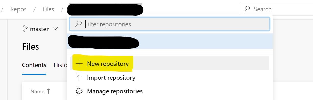 A new repository in Azure DevOps