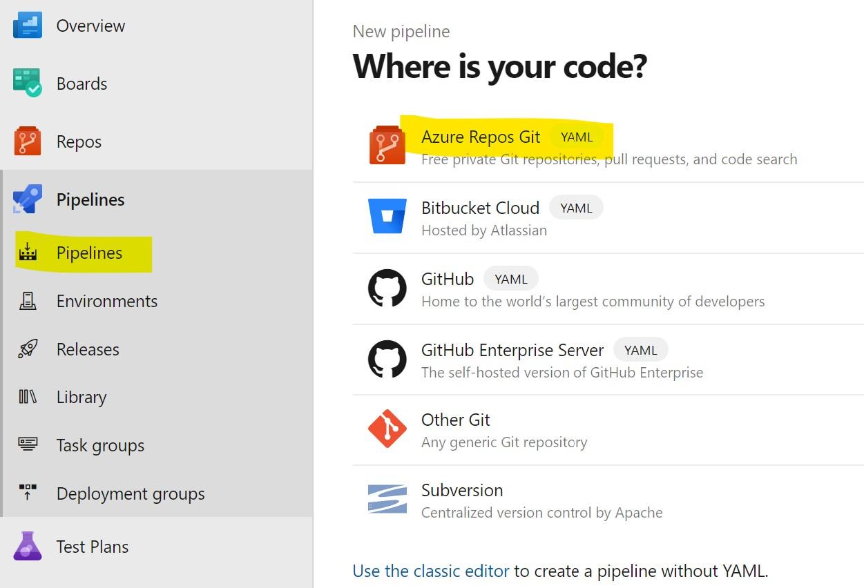 Pick the Azure Repos Git option