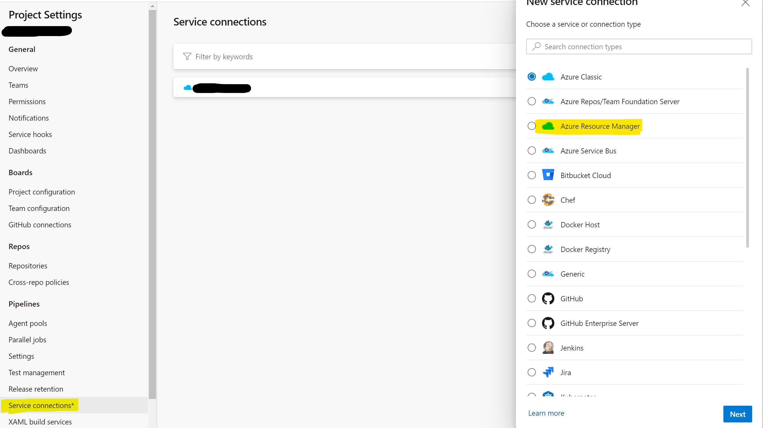 Create a new Service connection in Azure DevOps