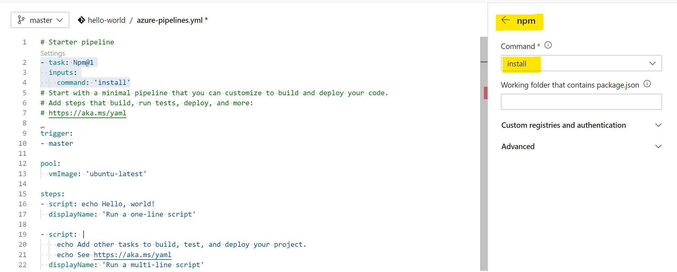 npm install command