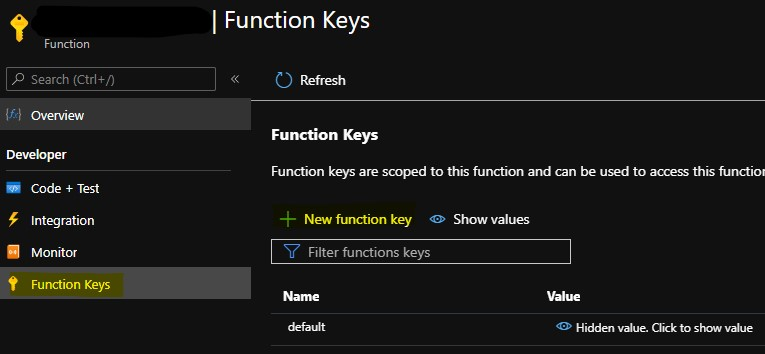 Create a new Function key